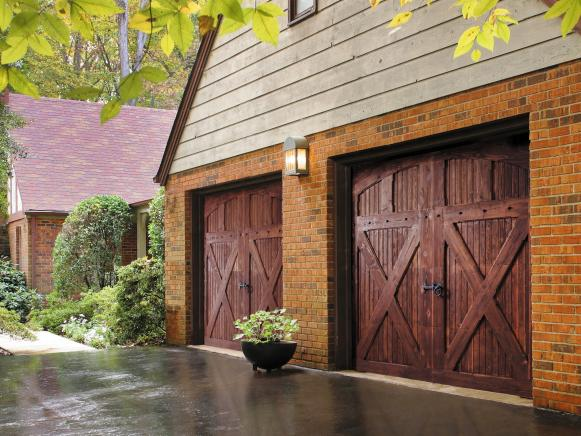 double wood garage doors